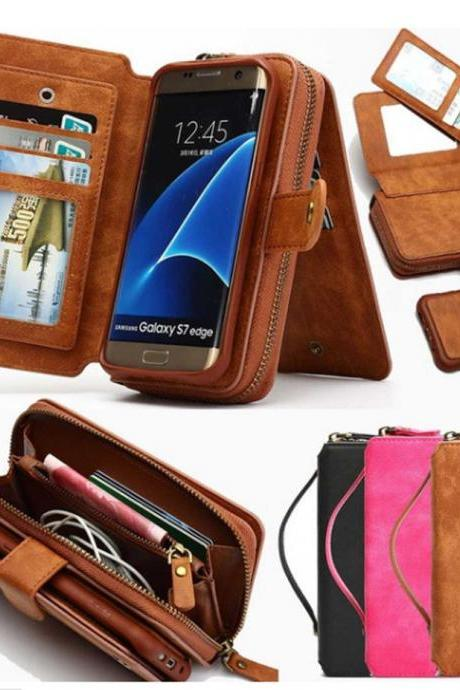 Fashion Multifunctional Detachable Zipper Wallet Case Handbag Pouch for iPhone &Samsung